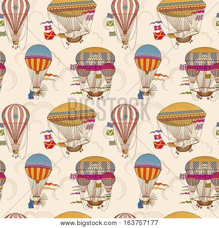 Retro air hot balloons seamless childrens vector background. Color pattern with striped air hot balloons illustration