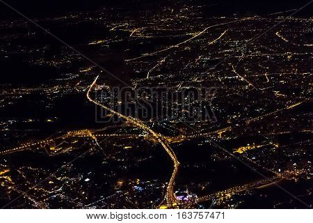 View of night Moscow from the plane Russia.