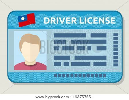 Vector car driving licence, identification card with photo, employee id. Flat sample of driving licence illustration
