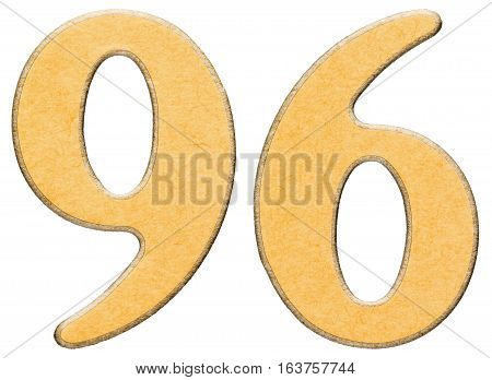 96, Ninety Six, Numeral Of Wood Combined With Yellow Insert, Isolated On White Background