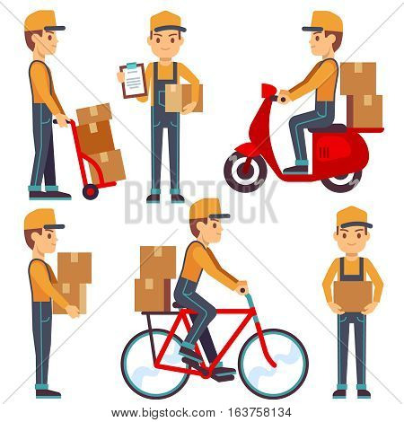 Delivery service man with boxes vector characters set. Courier delivers parcel on moped or bicycle. Illustration of courier delivery services