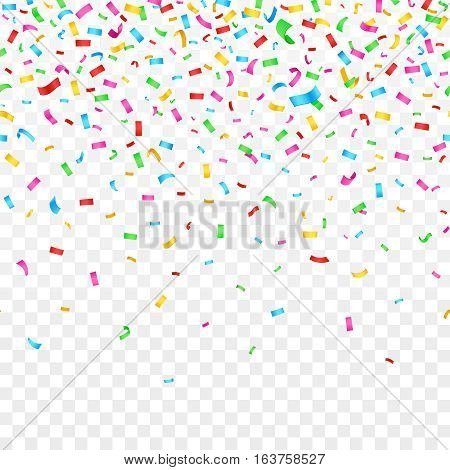 Falling confetti isolated on checkered background. celebration party holiday decoration. Confetti decoration to birthday and xmas, effect of glitter confetti illustration