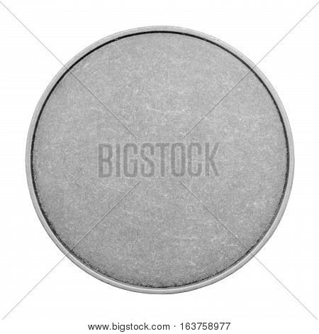 Blank templates for coins or medals with metal texture. Silver isolated on white background