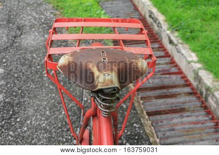 bike leather saddle red classic vintage in former beautiful with copy space for add text
