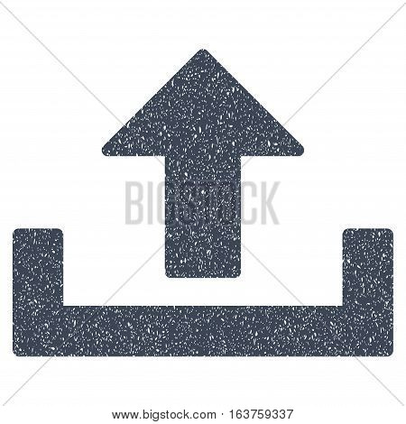Upload grainy textured icon for overlay watermark stamps. Flat symbol with dirty texture. Dotted vector smooth blue ink rubber seal stamp with grunge design on a white background.