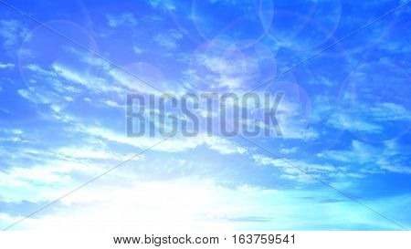 Silhouette sunrise sky and cloud bright blue color Photography has reflex radius made to presentation background.