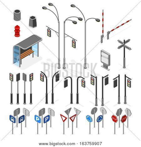 Isometric 3d street, road vector objects icons set. Traffic street signs, illustration of transportation signal sign