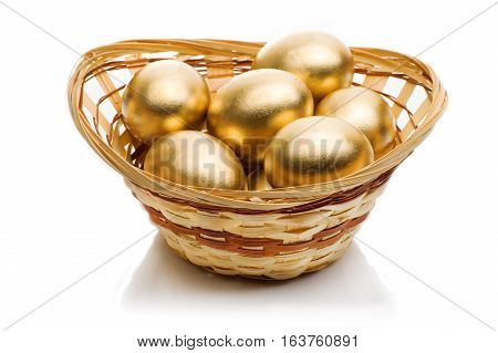 Golden easter eggs animation with easter greetings