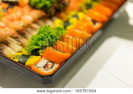 Sushi varietal flavors in the dish in party.