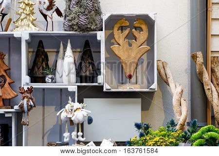 Christmas garden ornaments on display at Borough Market in London
