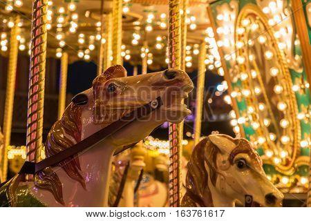 Merry-go-round in a Christmas fair Winter Wonderland