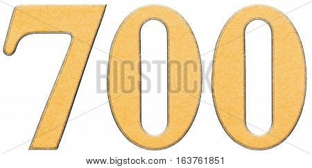 700, Seven Hundred, Numeral Of Wood Combined With Yellow Insert, Isolated On White Background
