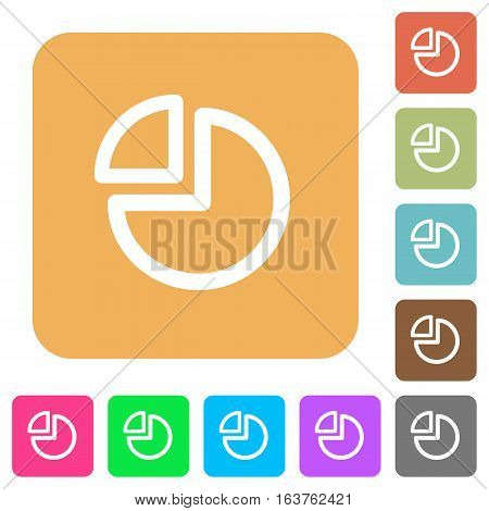 Pie chart icons on rounded square vivid color backgrounds.