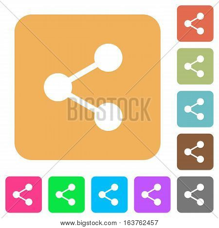 Share icons on rounded square vivid color backgrounds.