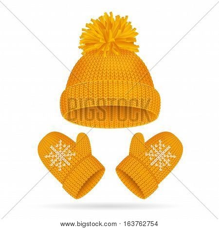 Yellow Hat with a Pompom and Mitten Set Knitted Seasonal Winter Accessories Vector illustration