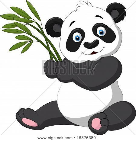 Vector illustration of Cute panda holding bamboo