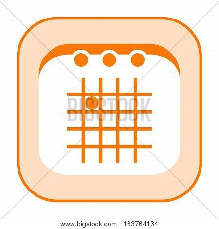 Calendar orange simply styled icon isolated on white background