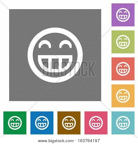 Laughing emoticon flat icons on simple color square backgrounds