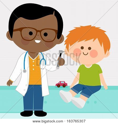 Vector illustration of a male pediatrician examining a little boy's ear with an otoscope .