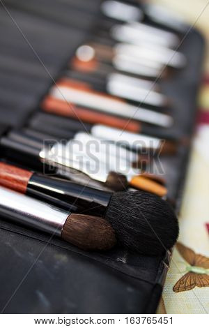 A set of makeup brushes for facial coloring