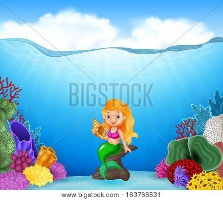 Vector illustration of Cartoon mermaid holding Seashell with beautiful underwater world