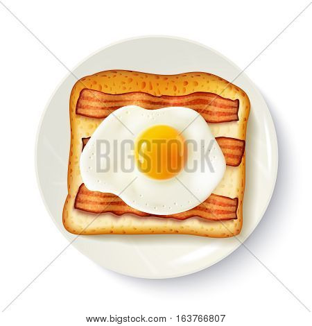 American breakfast food top view realistic image of toasted bread  fried egg and bacon on plate vector illustration