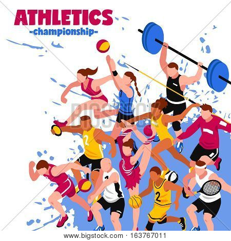 Colorful sport isometric poster with active players sportsmen and athletes on splash background vector illustration