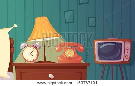 Retro gadgets cartoon composition with alarm clock phone tv lamp nightstand in bedroom vector illustration