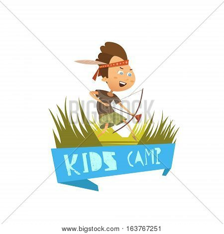 Kids camp cartoon concept with hiking and archery symbols vector illustration