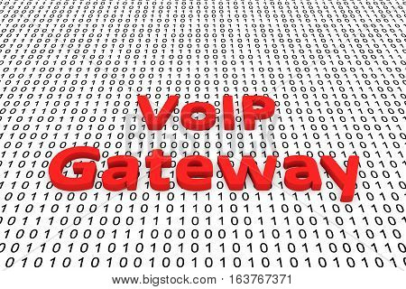 voip gateway in the form of binary code, 3D illustration