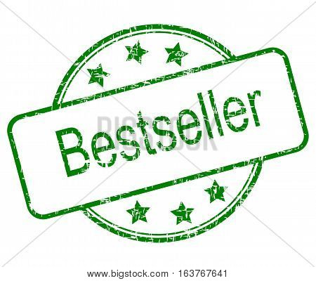 green Bestseller rubber stamp on white background - illustration