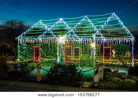 View of a house made out of Christmas Lights in the Lake of the Ozarks area of Missouri