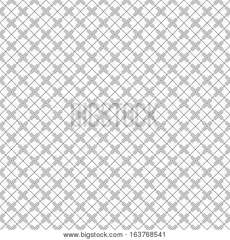 Vector seamless pattern. Simple minimal abstract geometric background. Modern linear texture with thin lines. Regularly repeating geometrical tiled grid with rhombus diamond crosses. Trendy design