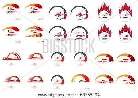 Set of 24 speedometer scales. Concept of speed and acceleration. Automobile subject. Car theme. Global communications. Vector element of graphic design.