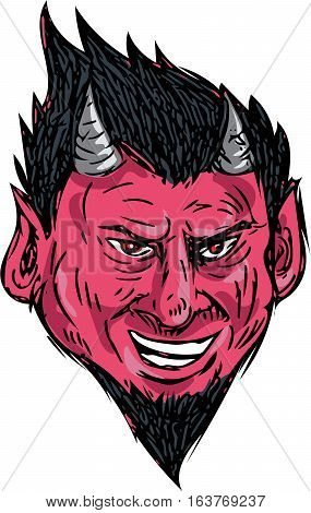 Drawing sketch style illustration of a demon head with horns and goatee viewed from front set on isolated white background.