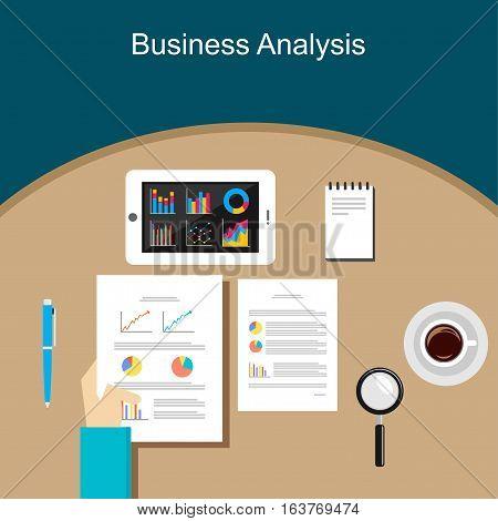 Business Person Analyzes Data Economy Statistics Concept
