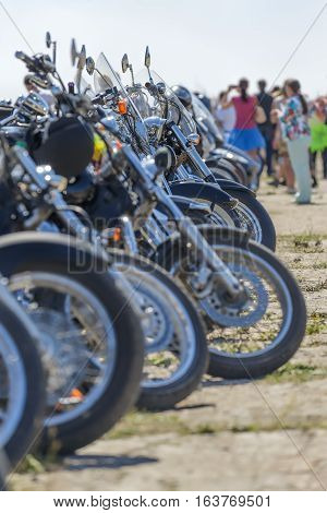 Bicycles in a row the wheel the exhibition display view engine Harley many bikes