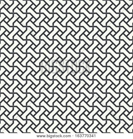Seamless pattern. Stylish abstract geometric background. Modern original texture. Regularly repeating geometrical tiled grid with rhombuses diamonds zigzags. Vector design