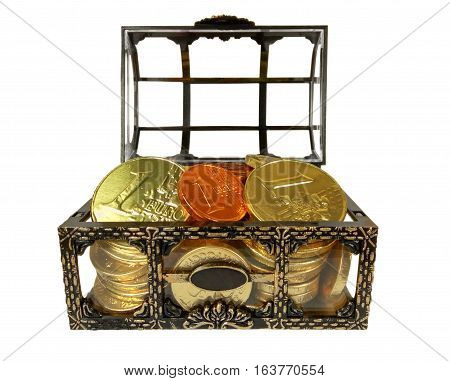 Chest with chocolate coins isolated on white. Clipping path included
