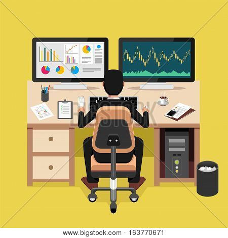 Businessman working on computer to analyse stock exchanges. Monitoring business profit concept.