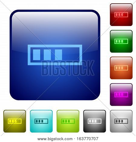 Progressbar icons in rounded square color glossy button set