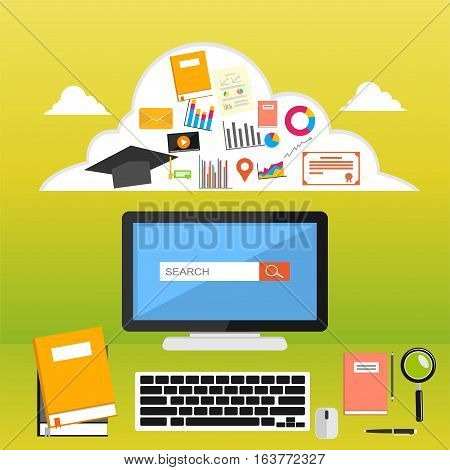 College supplies. Online learning. E-learning education. Online course