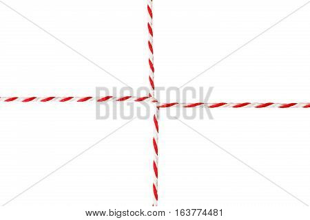 White Red Rope Postal Envelope Cord Wrapped Twine Ribbon Isolated over White Background