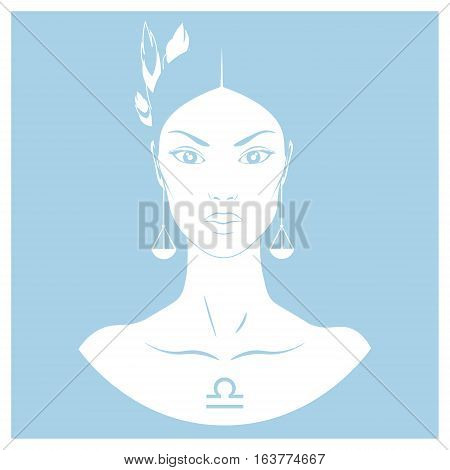 Zodiac. Vector illustration of Libra. Isolated on light blue background.