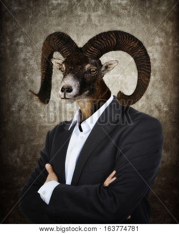 Head of a Goat on a man's body on textured brown background