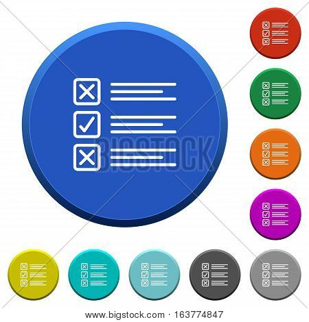 Questionnaire round color beveled buttons with smooth surfaces and flat white icons