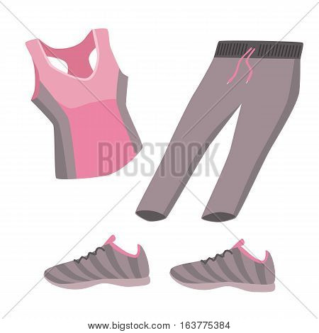 Fitness Theme - Set Of Flat And Fitness Elements Of Cloths, Shoes. Fitness Concept Vector Illustrati
