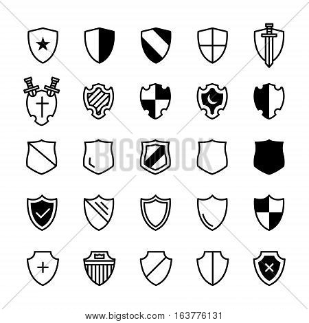 Set of ancient shields with different emblems in modern line design. For safe, guard, protection, security, shield and other illustration. Vector illustration on a white background.