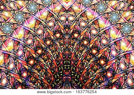 Abstract Intricate Mosaic Ornament. Fantasy Fractal Texture In Orange, Yellow, Pink, Black And Blue