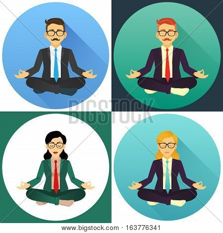 Flat Vector Icon Set Of Working People Doing Office Yoga. Calm And Relax In The Middle Of A Work Day